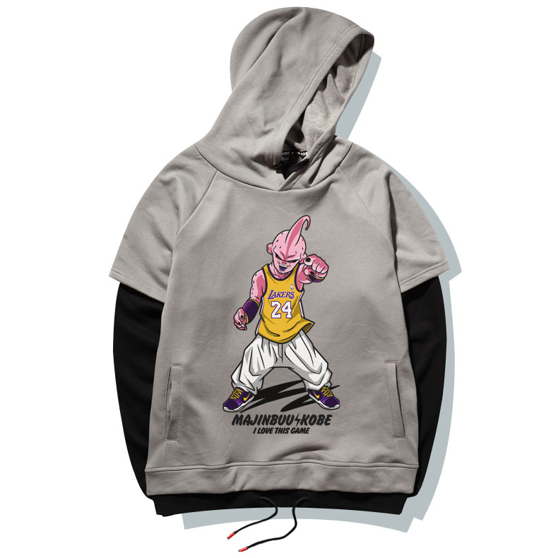 Quality Dragon Ball Majin Buu Hoodie Gray Plus Size Sweatshirt For Boy Men
