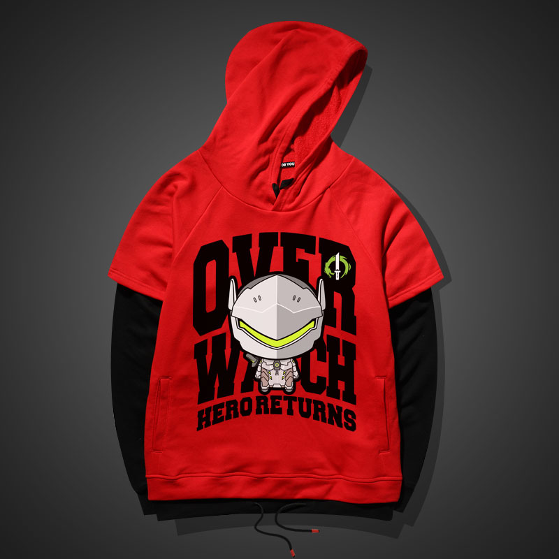 Lovely Genji Hoodie Red Blizzard Overwatch Sweater For Boy Men