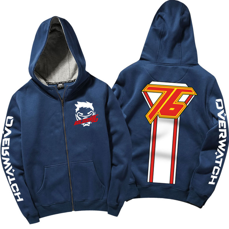Cool Overwatch Soldier 76 Hoodie Zip Up Blue Hooded Sweatshirt