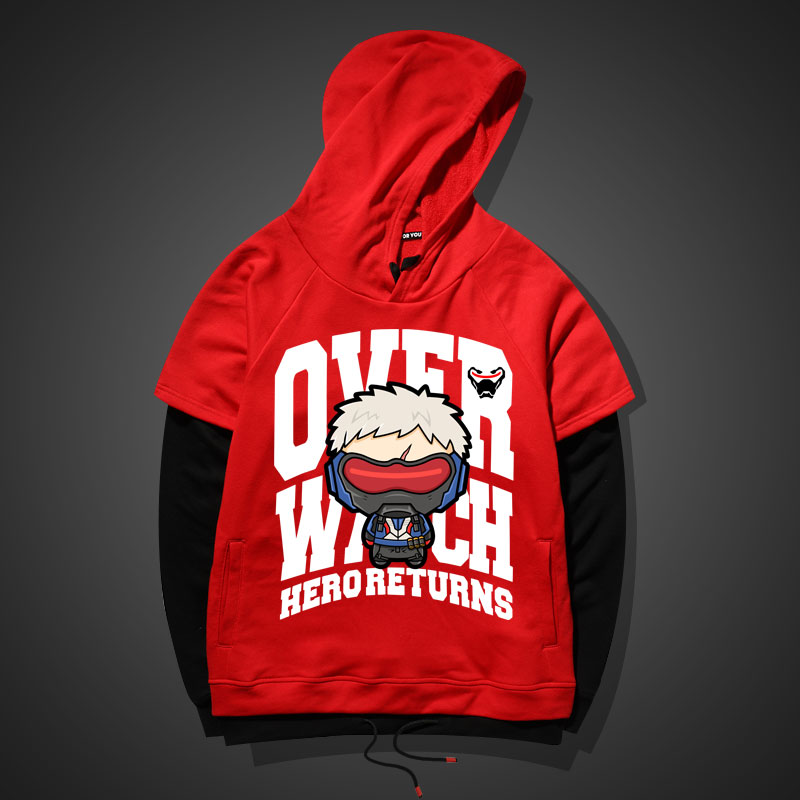 Lovely Soldier 76 Hoodie Red Gray Mens Overwatch Sweatshirt for Younth