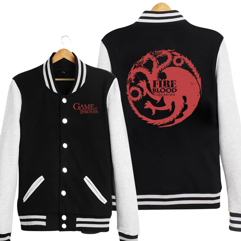 8df9ef3a22 Game Of Thrones Black Baseball Sweatshirt House Targaryen Clothing Gifts ...