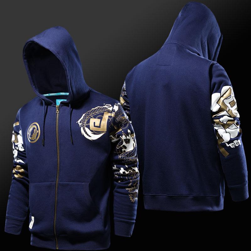 Blizzard Overwatch Hanzo Sudaderas con capucha Azul Zip Up Sudaderas