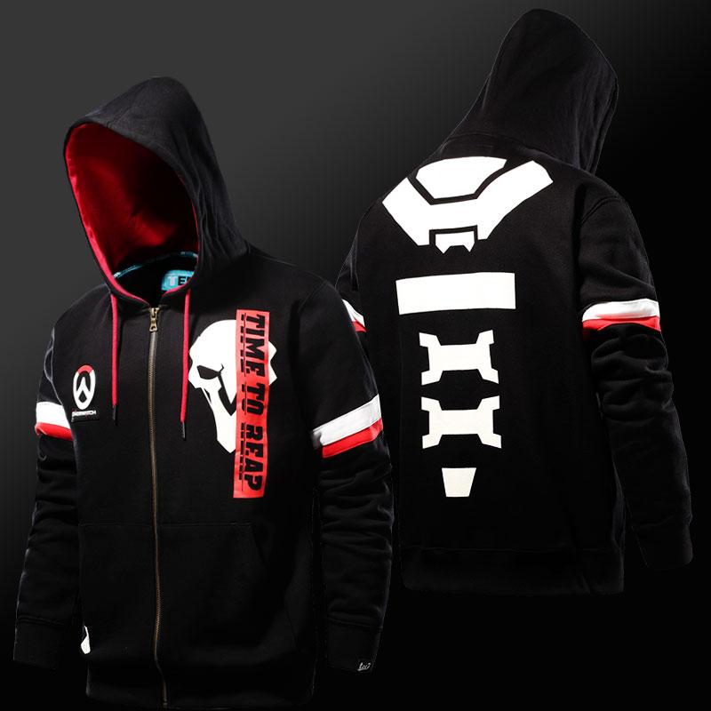 63d7d8a8 Overwatch Reaper Hoodies OW Game Hero Black Zip Sweatshirts for Mens ...