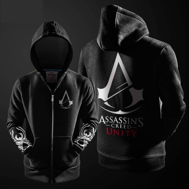 87b2a0a004 Assassin's Creed Unity Hoodies Black Fleece Mans Hooded Sweatshirts ...