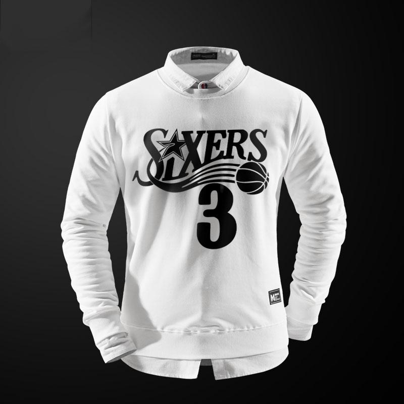 NBA Allen Iverson Hoody Para Hombres Negro Crewneck Hoodie