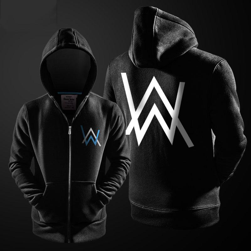 Black DJ Alan Walker Hoodie Zip Up Sweatshirt For Men
