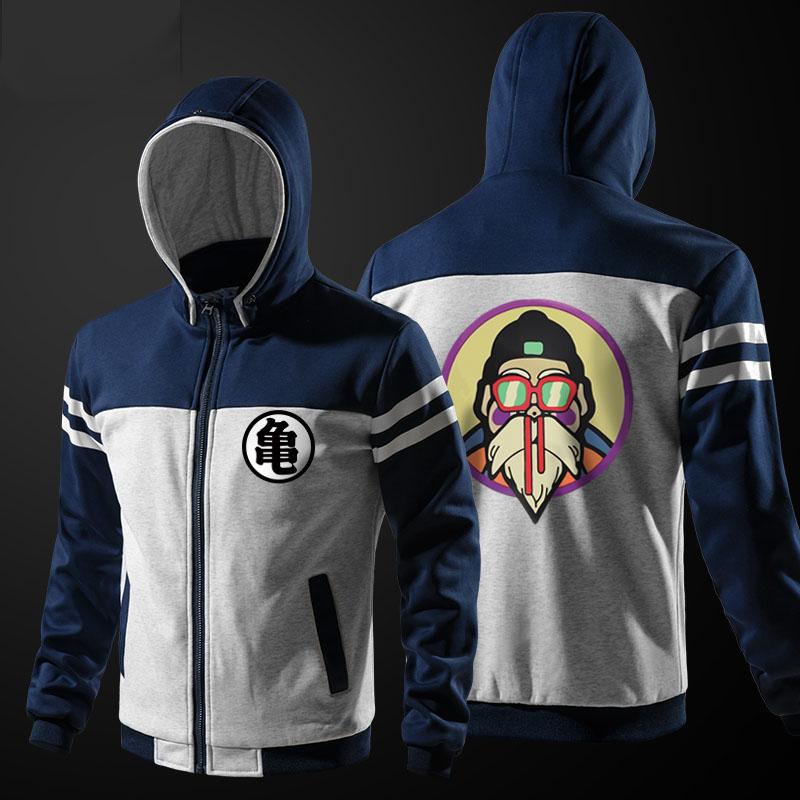 09d24cd219 A minőségi Dragon Ball Master Roshi Hoodie kék cipzáras pulóver ...