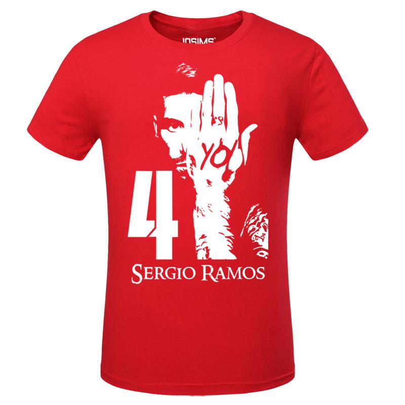 quite nice 86cf4 a395f Spain Soccer Star Sergio Ramos Red Tshirts | Wishining