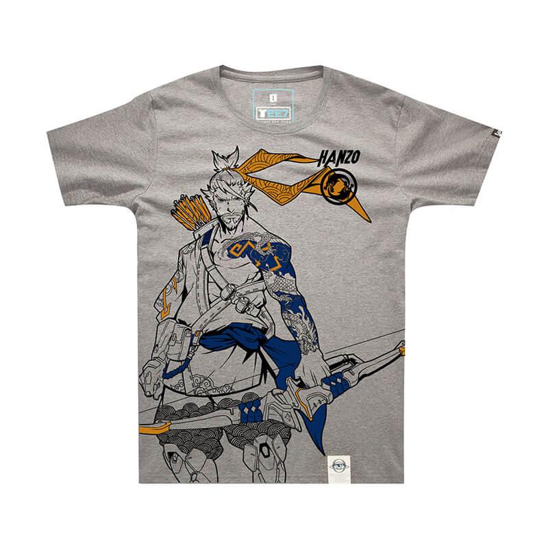 Gray 3XL OW Hero Overwatch Hanzo T shirt For Mens
