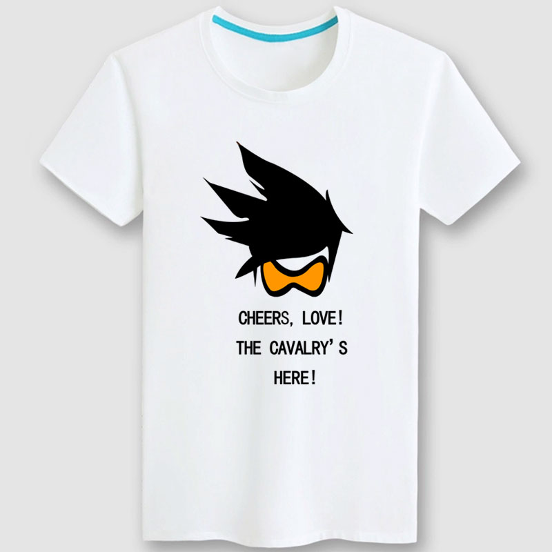Blizzard Overwatch Tracer T-shirts Black Couple Shirts