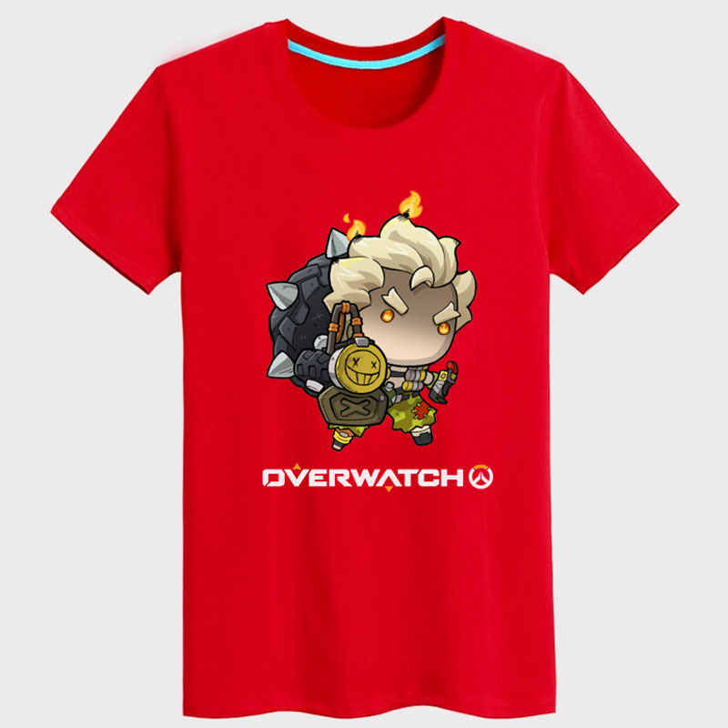 Cartoon Overwatch Junkrat T-shirts For Mens black Tees