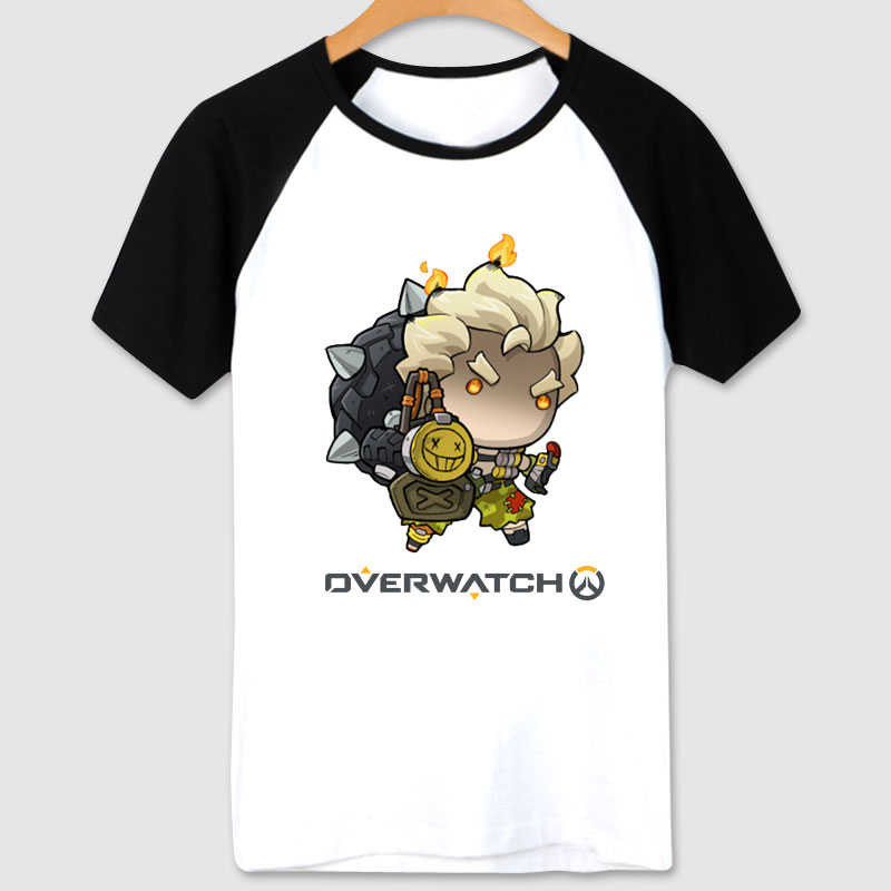 Overwatch Cartoon Junkrat Tees white T-shirts Mens