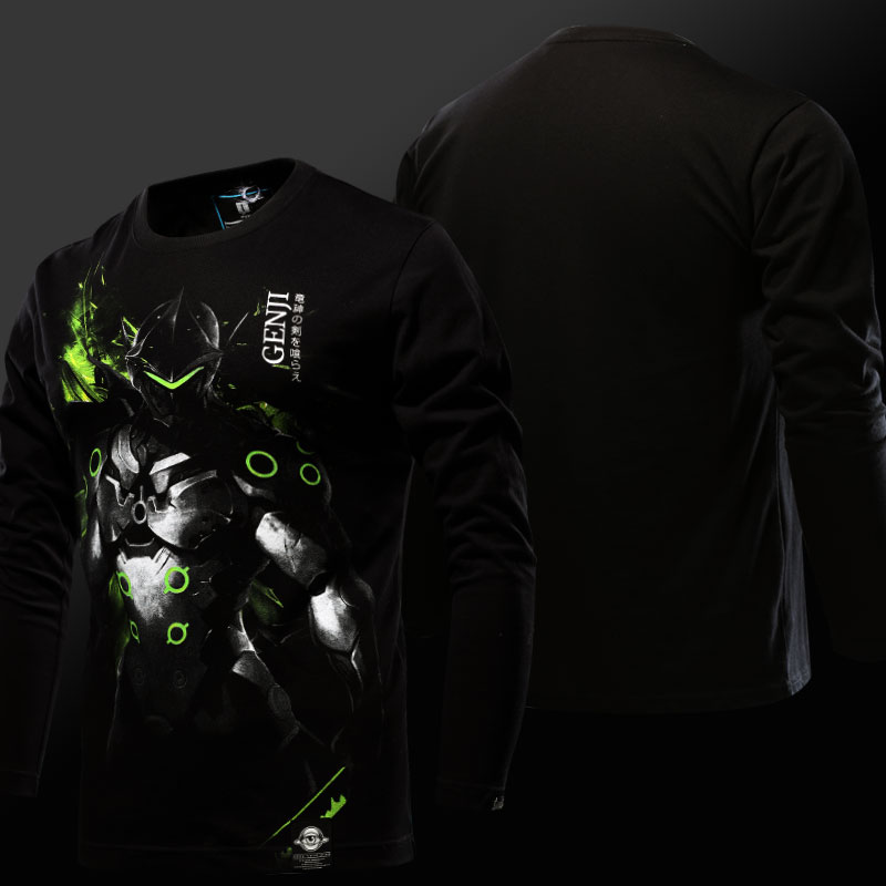 Overwatch Genji Long Sleeve T-shirt Blizard OW Hero black Tee Shirts For Young