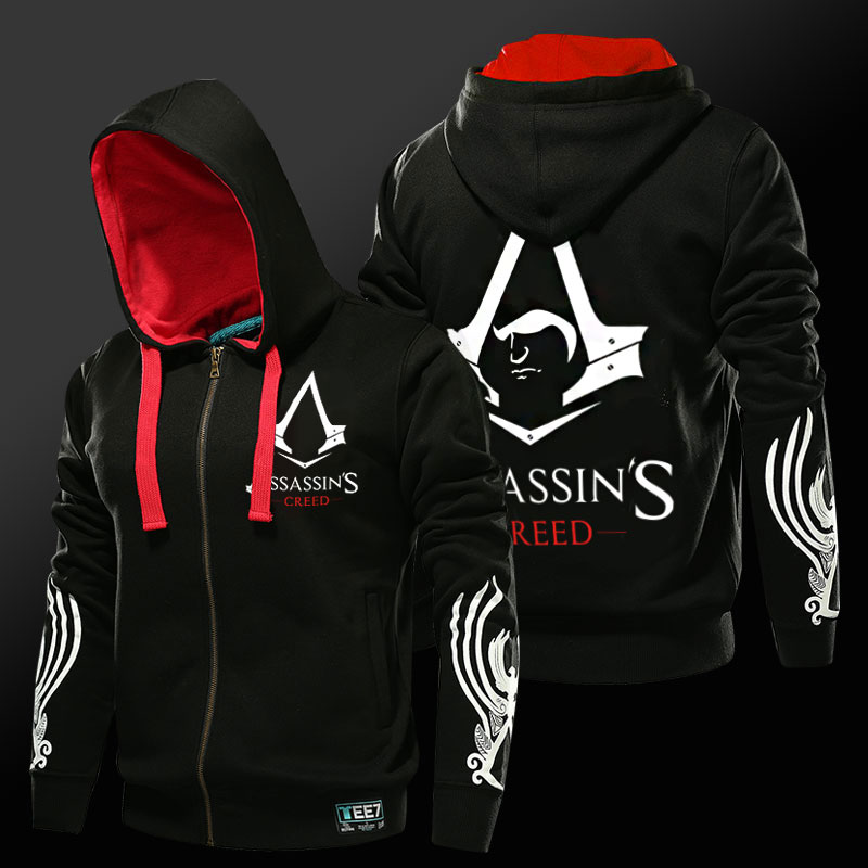 4af5ce1f12 Assassin's Creed kapucnis férfi fekete cipzár pulóverek. Assassin's  Creed Hoodie Man Black Zipper Sweatshirts ...