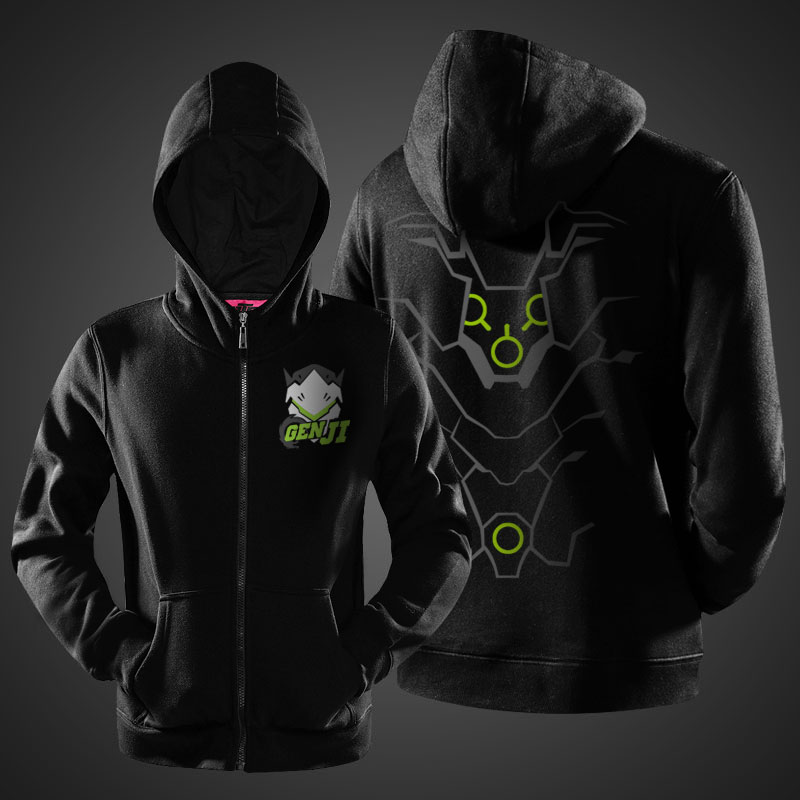fb6902d39 Blizzard Overwatch Genji Sweat Shirt Black Full Zipper Hoodie Boys ...