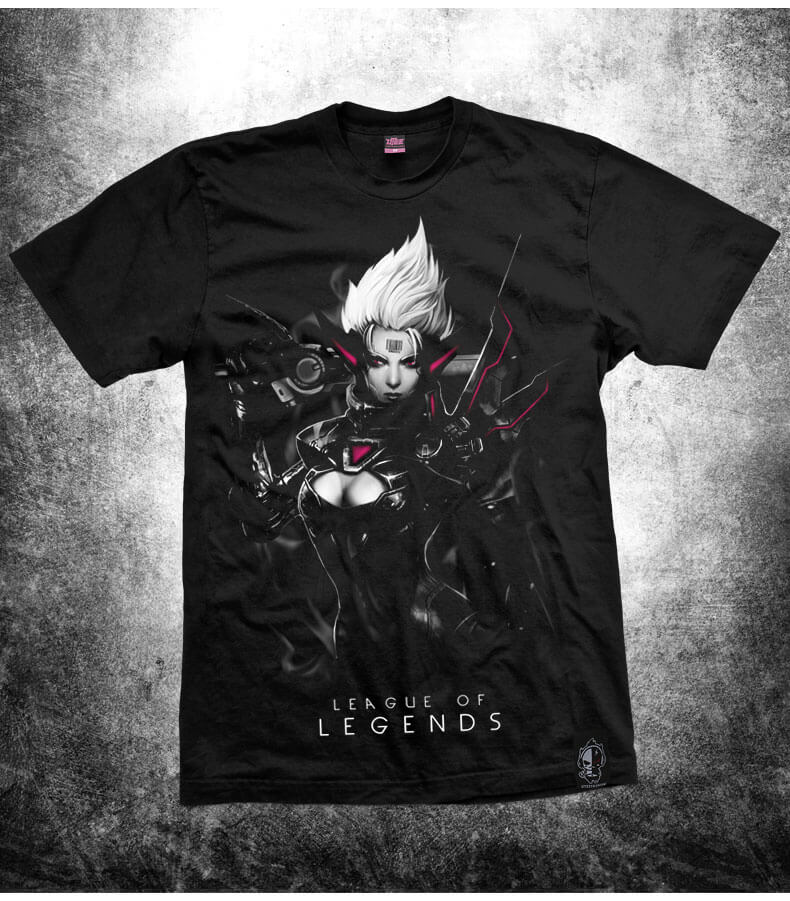 Darkness Grand Duelist League of Legends Fiora Tee For Mens Black T Shirts