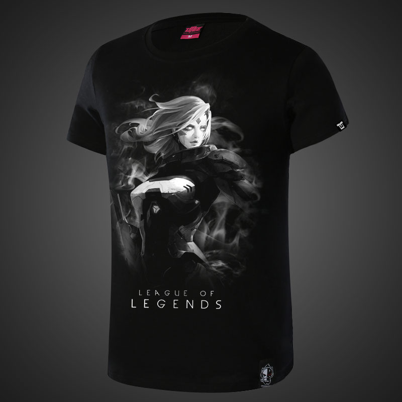 Darkness Frost Archer League of Legends Ashe Tees Mens Black T-shirt