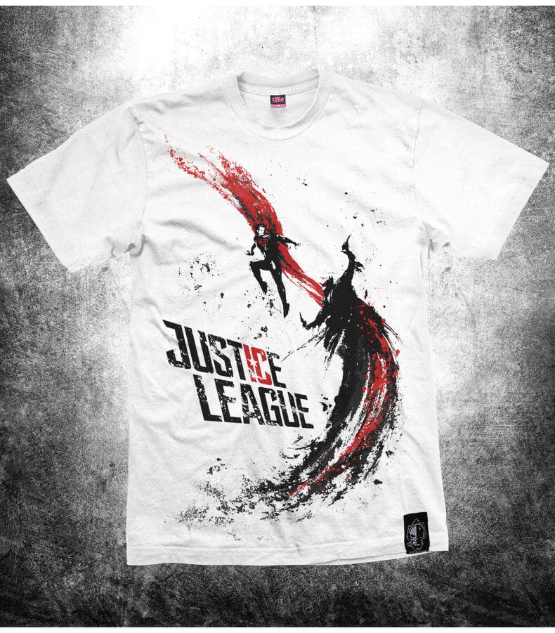 d6c2a84bc7f4 ... Μελάνι Εκτύπωση Αυγή της δικαιοσύνης T-shirt Λευκό Batman v Superman  Tshirt