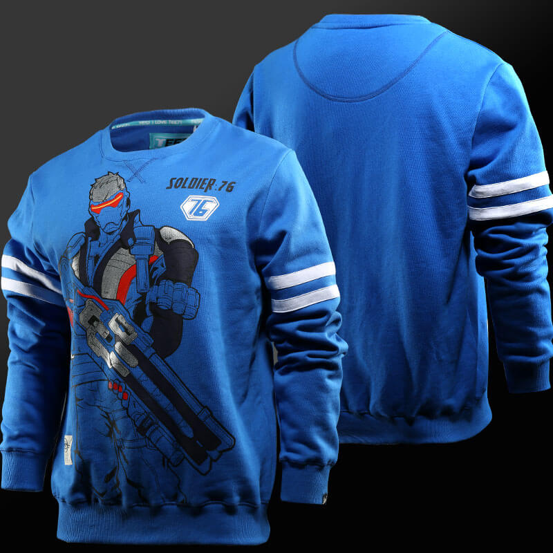 Overwatch Soldier 76 Hoodies Boys Blue Sweatshirt