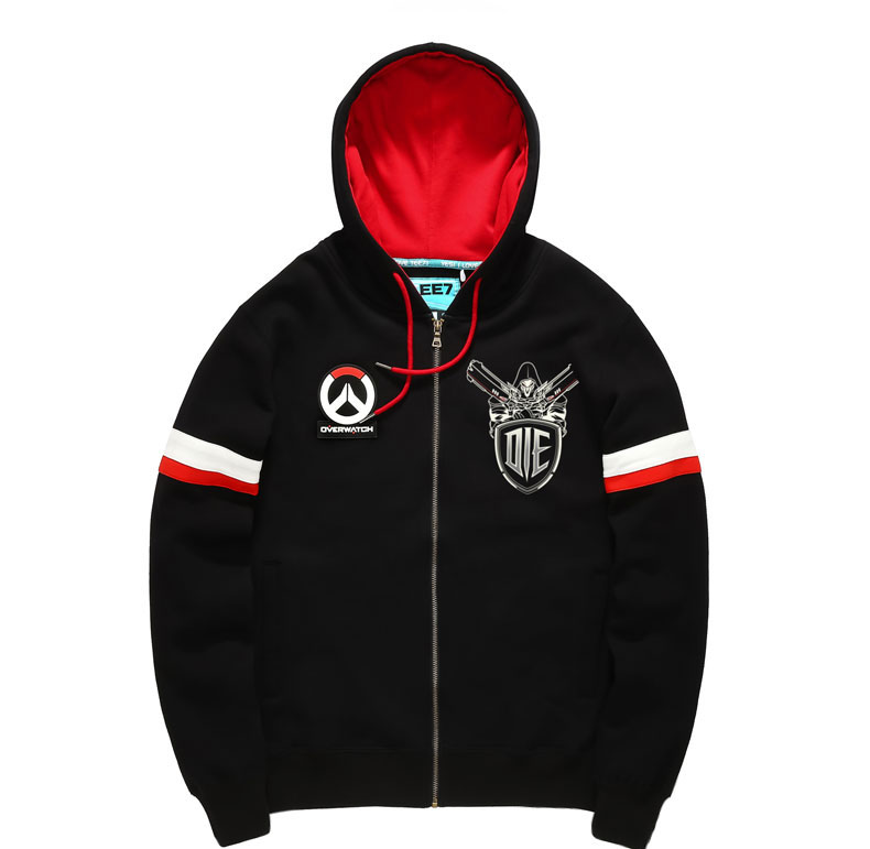 Blizzard Overwatch Reaper Hoodies Mens Boys Black Zip Up Sweatshirts