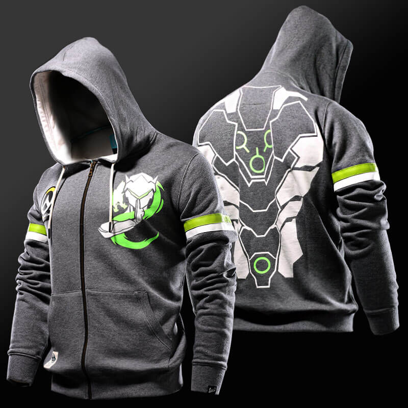 da8bbc35c Overwatch Genji Zip Up Hoodie Mens Gray Sweatshirt Cool | Wishining