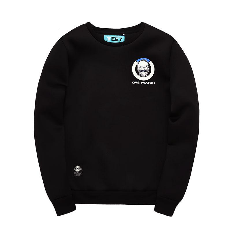 Overwatch Logo Soldier 76 Hoodies Mens Black OW Hero Sweatshirts