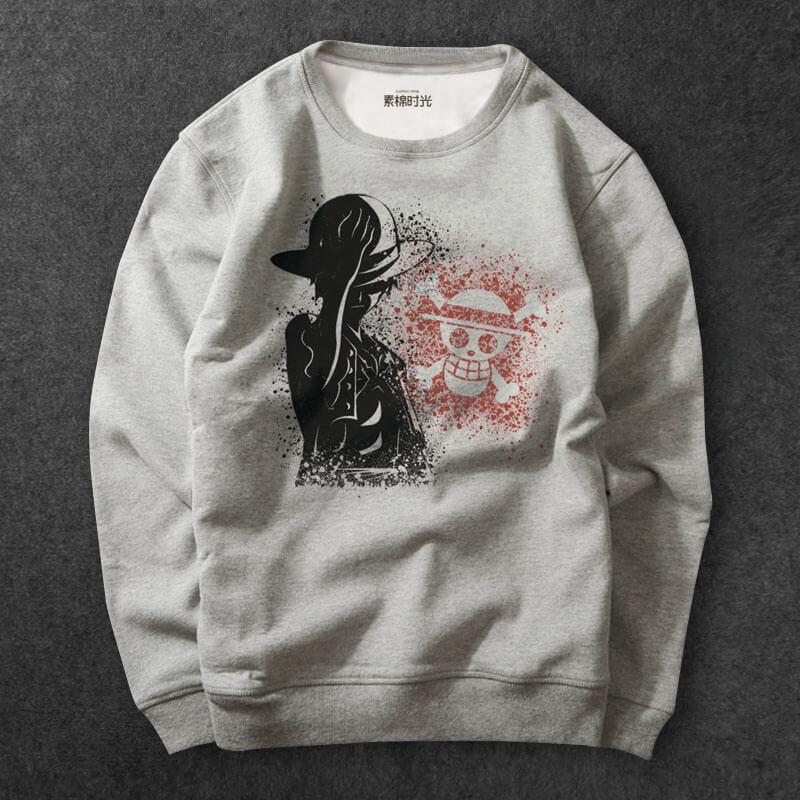 One Piece Anime Luffy Hoodie gray Sweatshirts For Mens ...