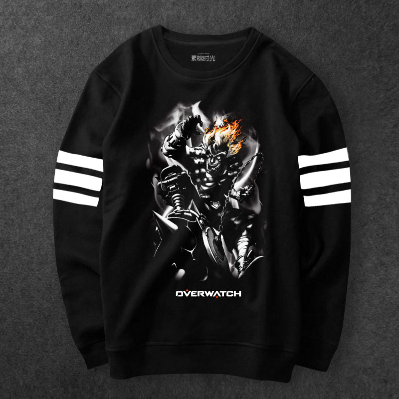 Overwatch Junkrat Sweat Shirts Blizzard OW Hero Black Hoody For Young