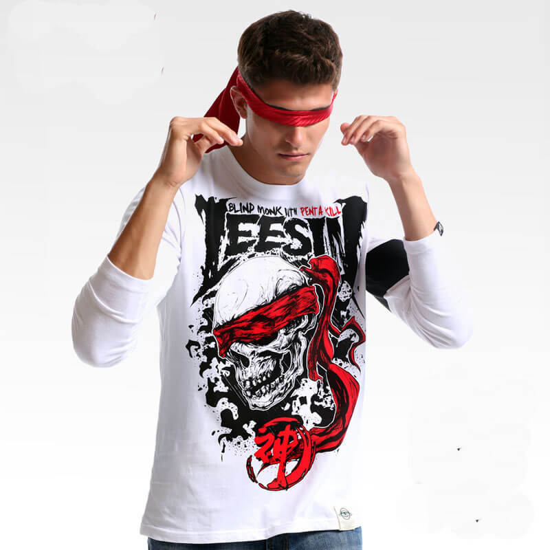 LOL Lee Sin Long Sleeve Tshirts Blind Monk T-shirts For Mens