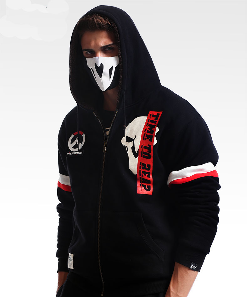 Winter Overwatch Reaper Hoodies Zip Black Sweatshirt For Mens