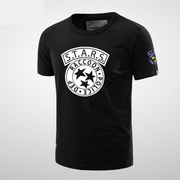 Resident Evil Stars Logo Tees For Men Black T-shirts