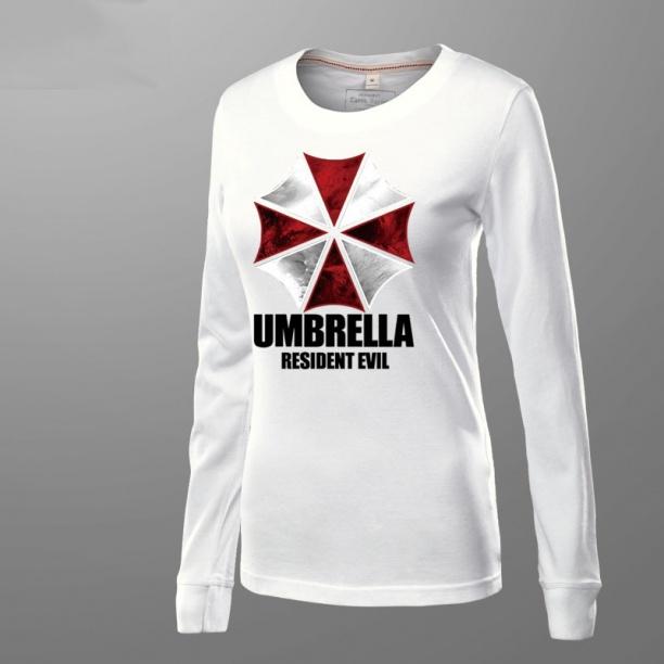 Resident Evil Umbrella Tshirts Mens White Long Sleeve Shirt