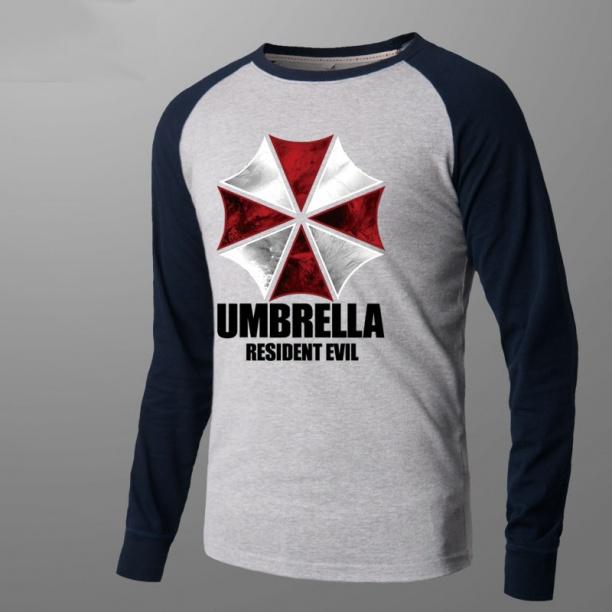 Resident Evil Umbrella Tee Men Gray Long Sleeve Tshirts