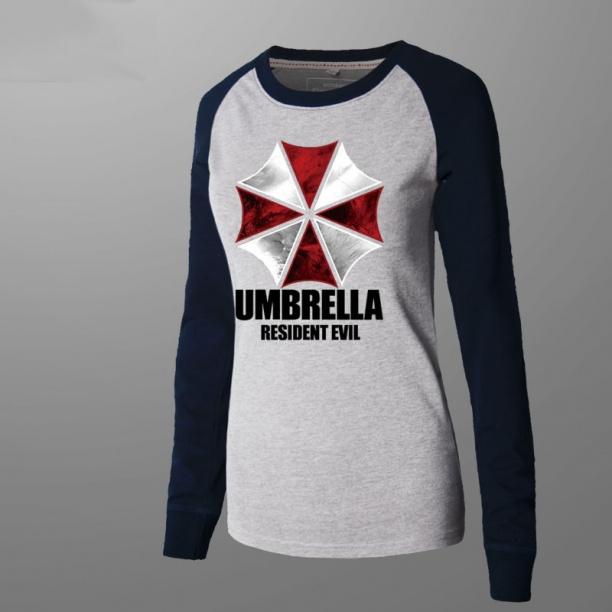Resident Evil Umbrella Tshirt Men Gray Long Sleeve Tee
