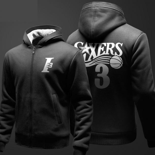 NBA Allen Iverson Sudadera Hombre Negro Zip Hoody