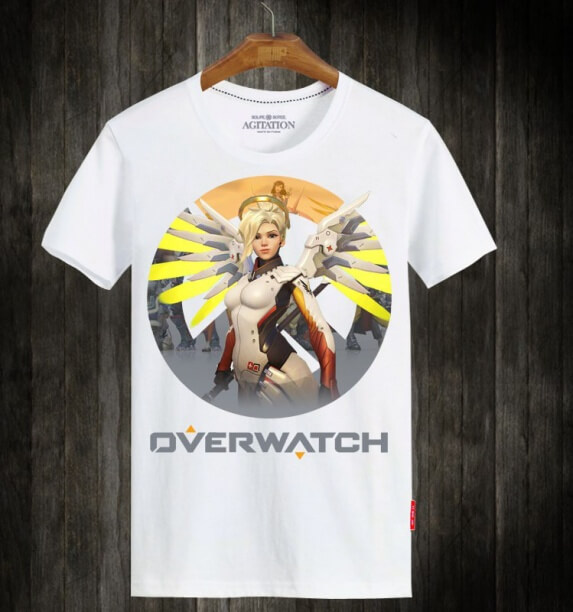 Overwatch OW Mercy Hero Tshirts For Mens