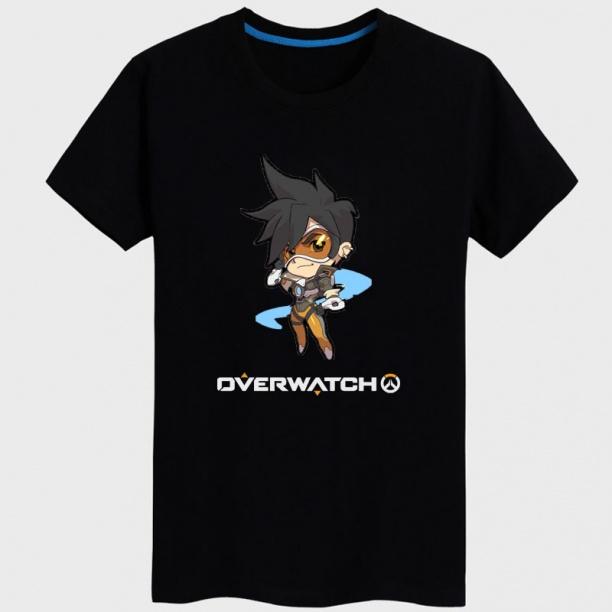 Black Overwatch Tracer Hero T shirt For Mens Women's