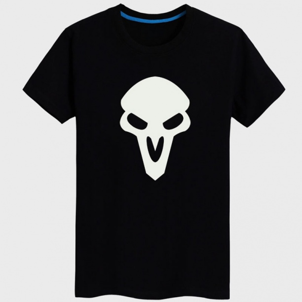 Cool Black Overwatch Reaper T-shirt Couple OW Hero Tees