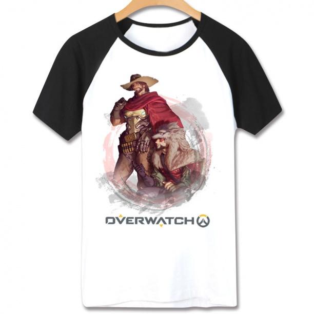 Overwatch Hero Mccree T-Shirts Short Sleeve Cotton White Tees