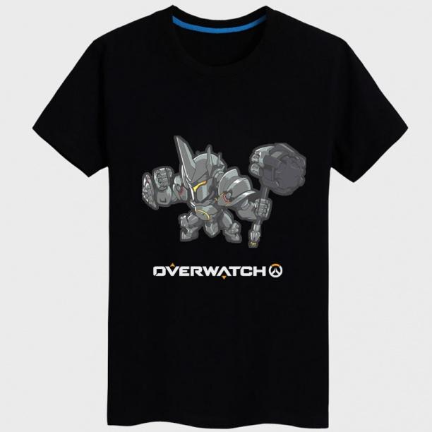 Overwatch Reinhardt Hero T-shirts black Tees For Couple