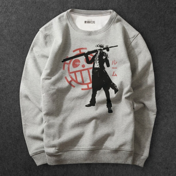Anime One Piece Luffy Sweatshirts gray Hoodie For Mens
