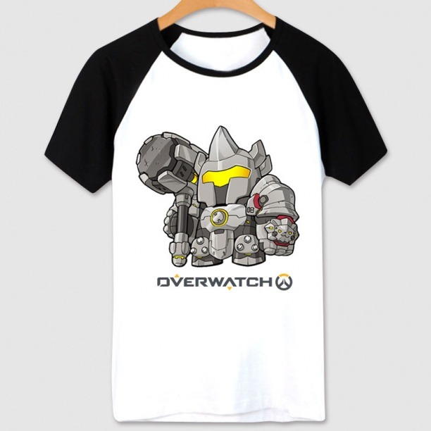 Overwatch Game Reinhardt T-shirts white Tees For Women
