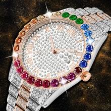 Luxury Iced Out Rainbow Quartz Watch Men Waterproof Golden Male Wristwatch