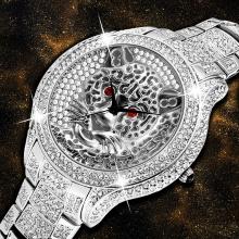 Silver Tiger Watch Designer Men's Watch Quartz Movt Hip Hop Red Diamond Men's AAA Watch