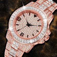 Watch Rose Gold Diamond Steel Watch Unique Waterproof Quartz Watch Men Chronograph Colck