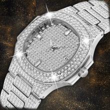 Silver Men's Watch Quartz Diamond Watch Men Luxury Calender Unique Iced Out Clock