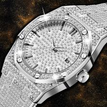 Silver Men Watch Minimalist Bling Bling Diamond Fashion Quartz Wristwatch For Men Waterproof