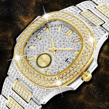 Watch Men PP Trending Gold Men's Watch Quartz Chronograph Diamond Steel Clock