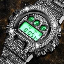 Black Electronic Watch Calendar Stainless Steel Waterproof Digital Men Wrist Watches