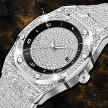 Men's Watches Silver Minimalist For Men Bling Bling Diamond Fashion Quartz Wristwatch